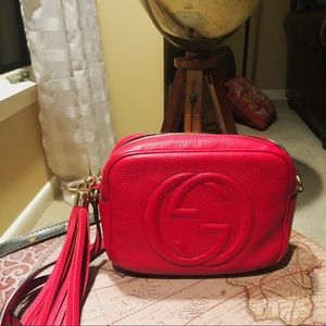 Gucci Soho Small Leather Disco Bag Red Purse